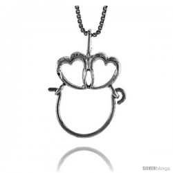 Sterling Silver Double Heart Charm Holder Pendant, 7/8 in