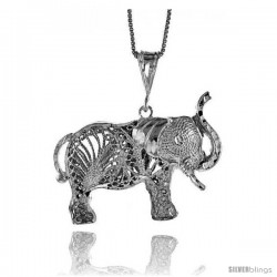 Sterling Silver Large Filigree Elephant Pendant, 1 1/16 in