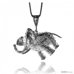 Sterling Silver Large Elephant Pendant, 1 1/8 in