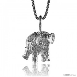 Sterling Silver Elephant Pendant, 1/2 in