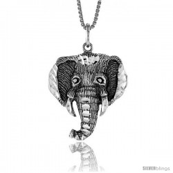 Sterling Silver Elephant Head Pendant, 1 in