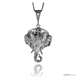 Sterling Silver Large Elephant Head Pendant, 1 3/8 in
