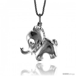 Sterling Silver Elephant Pendant, 7/8 in