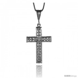 Sterling Silver Cross Pendant, 1 3/8 in -Style 4p47