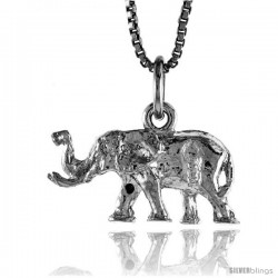 Sterling Silver Small Elephant Pendant, 3/8 in