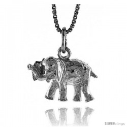 Sterling Silver Small Elephant Pendant, 1/2 in -Style 4p471