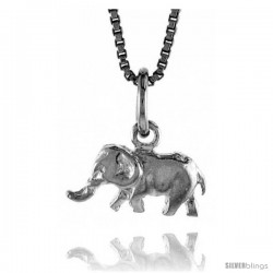 Sterling Silver Teeny Elephant Pendant, 1/4 in