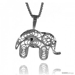 Sterling Silver Small Filigree Elephant Pendant, 1/2 in