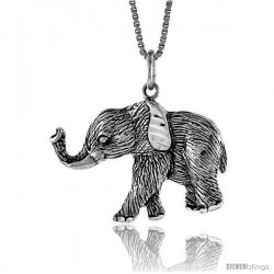Sterling Silver Elephant Pendant, 3/4 in