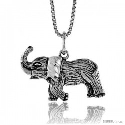 Sterling Silver Elephant Pendant, 1/2 in -Style 4p476