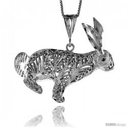 Sterling Silver Large Filigree Rabbit Pendant, 1 5/8 in