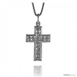 Sterling Silver Cross Pendant, 1 in -Style 4p48