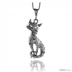 Sterling Silver Large Cat Pendant, 1 7/8 in