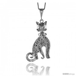 Sterling Silver Large Filigree Cat Pendant, 1 7/8 in