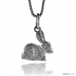 Sterling Silver Teeny Rabbit Pendant, 1/2 in