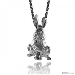 Sterling Silver Small Rabbit Pendant, 3/4 in Tall