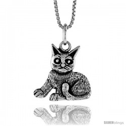 Sterling Silver Cat Pendant, 1/2 in