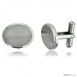 Stainless Steel Plain Oval Cufflinks Satin Finished 3/4 x /8 in