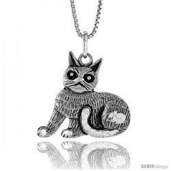 Sterling Silver Cat Pendant, 3/4 in