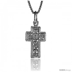 Sterling Silver Small Cross Pendant, 3/4 in