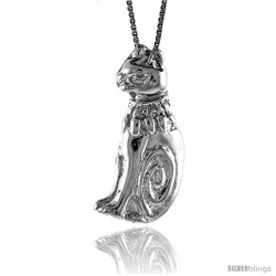 Sterling Silver Cat Pendant, 1 1/4 in Tall