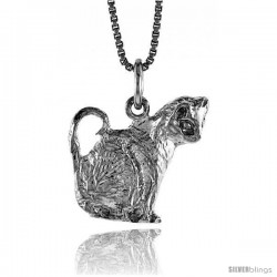 Sterling Silver Cat Pendant, 3/4 in -Style 4p491