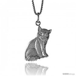Sterling Silver Cat Pendant, 3/4 in -Style 4p492