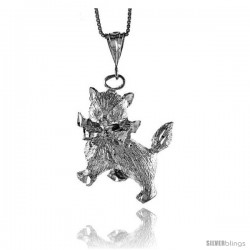Sterling Silver Large Cat Pendant, 1 1/16 in