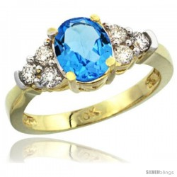 10k Yellow Gold Ladies Natural Swiss Blue Topaz Ring oval 9x7 Stone