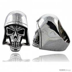 Sterling Silver Skull with Helmet Gothic Biker Ring, 1 3/8 in wide