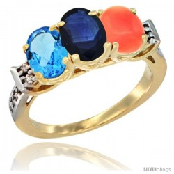 10K Yellow Gold Natural Swiss Blue Topaz, Blue Sapphire & Coral Ring 3-Stone Oval 7x5 mm Diamond Accent