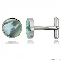 Stainless Steel Round Shape Cufflinks w/ Natural Mother of Pearl Inlay, 5/8 in