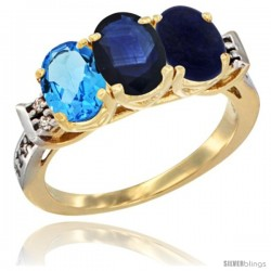 10K Yellow Gold Natural Swiss Blue Topaz, Blue Sapphire & Lapis Ring 3-Stone Oval 7x5 mm Diamond Accent