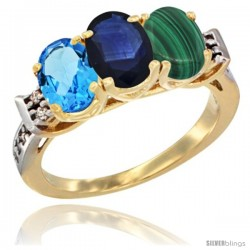 10K Yellow Gold Natural Swiss Blue Topaz, Blue Sapphire & Malachite Ring 3-Stone Oval 7x5 mm Diamond Accent