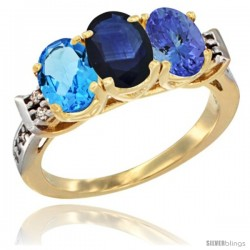 10K Yellow Gold Natural Swiss Blue Topaz, Blue Sapphire & Tanzanite Ring 3-Stone Oval 7x5 mm Diamond Accent
