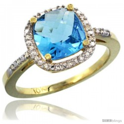 10k Yellow Gold Ladies Natural Swiss Blue Topaz Ring Cushion-cut 3.8 ct. 8x8 Stone