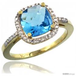 10k Yellow Gold Ladies Natural Swiss Blue Topaz Ring Cushion-cut 3.8 ct. 8x8 Stone