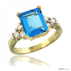 10k Yellow Gold Ladies Natural Swiss Blue Topaz Ring Emerald-shape 9x7 Stone