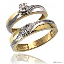 10k Gold 2-Pc Diamond Ring Set (4mm Engagement Ring & 5mm Man's Wedding Band), w/ 0.049 Carat Brilliant Cut Diamonds