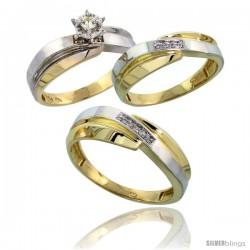 10k Yellow Gold Diamond Trio Wedding Ring Set His 7mm & Hers 6mm