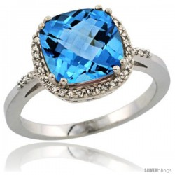 Sterling Silver Diamond Natural Swiss Blue Topaz Ring 3.05 ct Cushion Cut 9x9 mm, 1/2 in wide