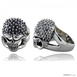 Sterling Silver Gothic Biker Skull Ring w/ Spikes, 1 1/16 in wide