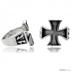Sterling Silver Maltese / Iron Cross Gothic Biker Ring, 3/4 in wide