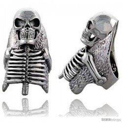 Sterling Silver Skeleton Gothic Biker Ring, 2 in wide