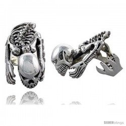 Sterling Silver Heavy Skeleton Gothic Biker Ring, 1 5/8 in wide