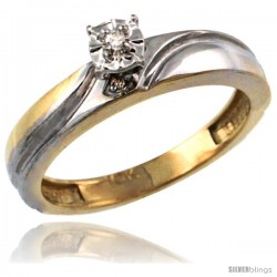 10k Gold Diamond Engagement Ring w/ 0.03 Carat Brilliant Cut Diamonds, 5/32 in. (4mm) wide