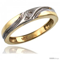 10k Gold Ladies' Diamond Wedding Ring Band, w/ 0.013 Carat Brilliant Cut Diamonds, 5/32 in. (4mm) wide