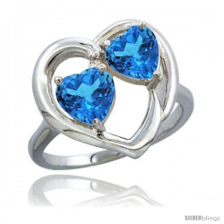 14k White Gold 2-Stone Heart Ring 6mm Natural Swiss Blue & Swiss Blue Diamond Accent