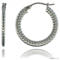 Surgical Steel 1 in Hoop Earrings Spiral Embossed Pattern 4 mm Flat tube, feather weigh