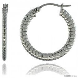 Surgical Steel 1 in Hoop Earrings Spiral Embossed Pattern 4 mm Flat tube, feather weigh